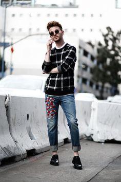 Gucci Jeans & Check Sweater on Imdrewscott.com
