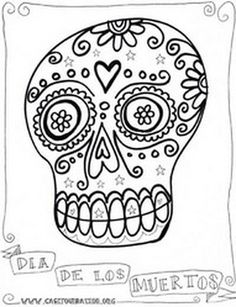 day of the dead color page | Day of the Dead Coloring and Craft Activities