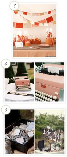 Guest book station ideas - knew there was a good reason I just bought that vintage typewritter