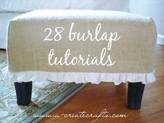burlap crafts ideas - burlap and blue