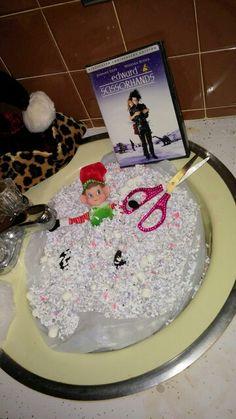 Elf on shelf: Confetti snow bath w edward scissorhands movie