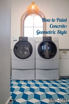How to paint concrete floors in a geometric pattern! {Wills Casa} diy Painted Concrete Floors, Painting Concrete, Diy Painting, Floor Painting, Cube Pattern, Laundry Room Design, Laundry Rooms, Stenciled Floor, Floor Ceiling