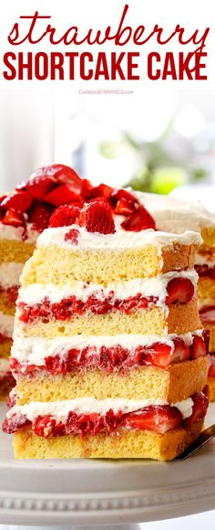 This Strawberry Shortcake Cake is the show stopping, crowd pleasing dessert of summer! It's everything you love about strawberry shortcake – but with more tantalizing layers!  Step by step photos, how to make ahead, tips and tricks included!  #dessert #strawberries #strawberry #strawberryshortcake #desserts #dessertfoodrecipes #dessertrecipes #desserttable #dessertideas #cake #cakerecipes #summerfood #strawberryrecipes #potluck #recipes #recipeoftheday #recipesbyyou