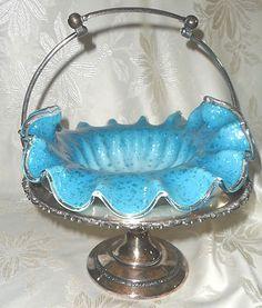 Victorian Art Glass Blue Ruffled Bowl Silverplate Meriden Co Brides Basket Victorian Bride, Victorian Art, Victorian Dressers, Brides Basket, Bowls, Art Object, Antique Glass, Silver Plate, Wedding Gifts