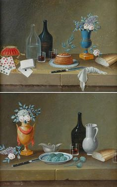 Paul Lelong French, 1799-1846 Still Lifes with Fruit, Kitchenware, Bread and Artichokes on Ledges