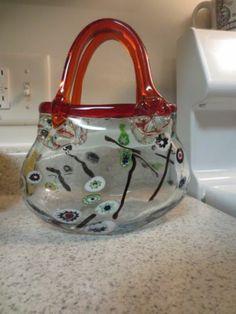 Vintage Murano Art Glass Large Purse Vase Millefiori Red | eBay