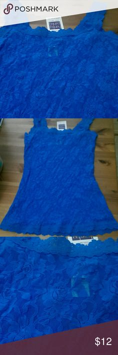 NWT Hanky Panky blue lace camisole, small Brand new with tags blue sheer lace camisole by Hanky Panky. Floral pattern, size small. Hanky Panky Tops Camisoles