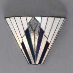 Tiffany Art Deco Wall Light with White, Blue, Purple and Clear Glass. Arandela Tiffany Art Deco com vidro branco, azul, roxo e transparente. Casa Art Deco, Lampe Art Deco, Art Deco Decor, Art Deco Stil, Art Deco Home, Decoration, Art Deco Wall Art, Decor Room, Room Art