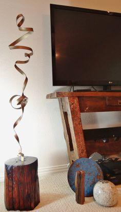 "Artist SIGNED sculpture ""BANDEROLE."" Urban, Industrial, Contemporary, Modern, Handcrafted, Vintage, Osage Orange, Metal"
