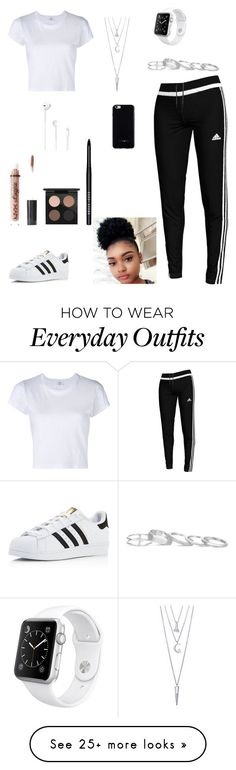 everyday outfit by katlove280 on Polyvore featuring adidas, RE/DONE, Kendra Scott, Apple, BERRICLE, Charlotte Russe, MAC Cosmetics, Bobbi Brown Cosmetics and Felony Case ,Adidas shoes #adidas #shoes
