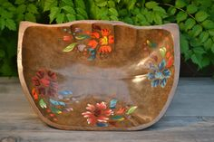 Hand Painted Vintage Wooden Bowl....for fruit, popcorn, shells, salad, beads and bracelets