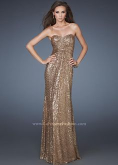 Shop 2013 prom dresses La Femme 18414 toffee sweetheart sequin dress available now at RissyRoos.com. .