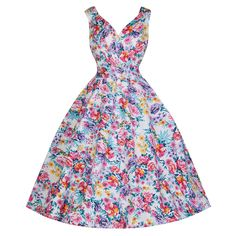 0bbad03505 White and Multi Colour Floral Swing Dress Pin Up Dresses