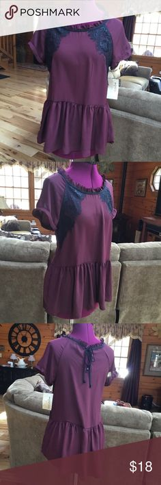 REWIND Wine colored top with black lace accents. Cute ruffled neckline. REWIND Tops