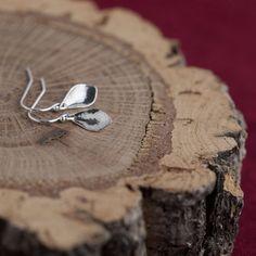 Itty Bitty Silver Petal Earrings / Tiny Sparkly Sterling Silver Teardrop Dangle Earrings