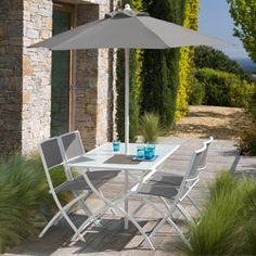 Salon de jardin FUNDY vert anis avec parasol offert | Salons