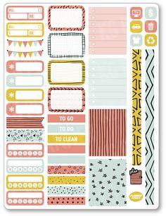 Doodles Functional Kit Planner Stickers for Erin Condren Planner, Filofax, Plum Paper