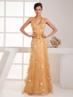 Beaded Halter Lace and Elastic Satin Evening Dress with Floral Cutouts Brands:AmarantaFreeship:YESModel Name:SerenaTailoring Time (Standard):15-20 DaysTailoring Time (Rush Order):10-15 DaysSilhouette:A-LineNeckline:V-neckShoulder…