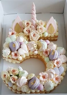 La folie des number cakes - See Tutorial and Ideas Pretty Cakes, Cute Cakes, Beautiful Cakes, Unicorn Birthday Parties, Unicorn Party, Unicorn Cakes, Unicorn Themed Cake, Pastel Cakes, Pink Cakes