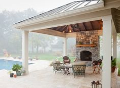 Phasing your master construction plan - The Porch CompanyThe Porch Company Backyard Pool Designs, Swimming Pools Backyard, Patio Design, Backyard Ideas, Backyard Retreat, Backyard Patio, Backyard Cabana, Pool Porch, Outdoor Rooms