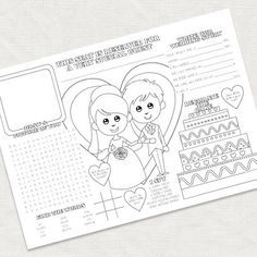 kids wedding activity placemat  printable file  by idoityourself, $4.95
