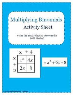 Free Multiplying Binomials Lesson Plan
