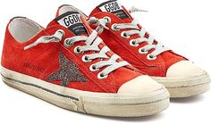 Golden Goose Deluxe Brand Shoes - In fiery red suede with a contrast star on the side, these low-top sneakers from Golden Goose Deluxe Brand are the coolest way to lend credible attitude to your wardrobe. Note how the distressed midsole pays homage to the brand's signature lived-in edge. - #goldengoosedeluxebrandshoes #redshoes