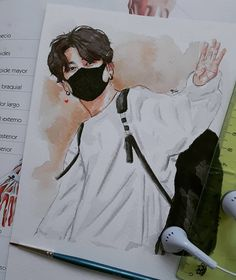 It's not a big job but the color mess and the finishing is the same as your hair Jajajaaj😳💔 Jungkook stops being so special😏☀️☀️🐰💜 . Jungkook Fanart, Kpop Fanart, Kpop Drawings, Art Drawings Sketches, Fan Art, Art Du Croquis, Art Mignon, Jobs In Art, Korean Art