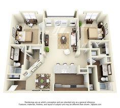 Nottingham Floor Plan: 2 bd / 2 ba - 1285 Sq. Ft. to 1307 Sq. Ft.