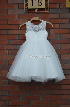 Lovely Ivory Lace Flower Girl Dress Wedding Baby by Valiantwang, $49.99