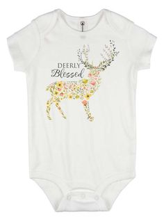 thanksgiving onesie - deerly blessed - baby girl gift - first thanksgiving - thanksgiving outfit - baby shower gift - blessed baby gift