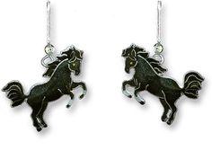 Black Stallion Horse Sterling Silver & Enamel Dangle Earrings by Zarah *RETIRED* #Zarah #DropDangle