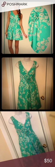 Lilly Pulitzer Birds and the Bees Dress Great like new condition Lily Pulitzer Birds and the Bees Dress. No flaws or issues, I just don't get to dress for work anymore and am living the Boring uniform life ha ha. This beauty deserves to be shown off! Gorgeous color, rosette detail and POCKETS! Don't let that lady with the side ponytail pictured deter you this Dress is refined Lilly style at its best. Non-smoking kitty friendly home, but the kitty doesn't wear Lilly. ❤️ Lilly Pulitzer Dresses