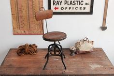 Rare Vintage Industrial Toledo Uhl Chair w/ Walnut Finish - 1920s