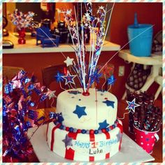 4th of July cake, Fondant Patriotic Cake confection.connection's photo on Instagram