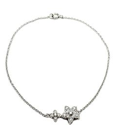 Savvy Cie Cubic Zirconia & Sterling Silver Star Bracelet | zulily . $19.99 $65.00 Product Description:  Glistening stars center the look of this polished bracelet of refined sterling silver.      Chain: 7.5'' L     Pendant: 8 mm W     Spring ring clasp     Rhodium-plated sterling silver / cubic zirconia     Imported
