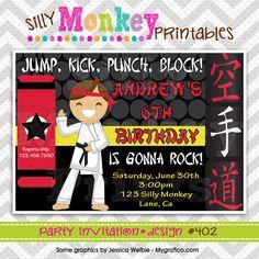 402: DIY - Karate Kid Party Invitation Or Thank You Card. $12.95, via Etsy.