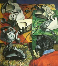 Artwork by Renato Guttuso, Telefoni. L'incomunicabilità, Made of oil on canvas Italian Painters, Italian Artist, Socialist Realism, Guernica, Vide Poche, Galleries In London, Art Database, Tumblr, Online Art