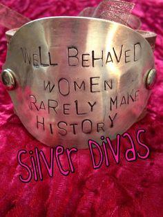 Well behaved women vintage spoon and recycled western belt bracelet $30. Find us on Facebook!