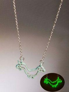Dog Pendant Glowing Necklace Dachshund Glow by UptownGirlFashion