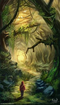 """""""I guess I should start looking in the forest. When you lose a person you don't really know where to look. I would gladly look in this forest. Fantasy Artwork, Fantasy Art Landscapes, Fantasy Landscape, Landscape Art, Fantasy Places, Fantasy World, Fantasy Forest, Magic Forest, Fantasy Setting"""