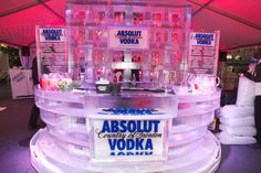 At the Absolut Vodka pop-up party, held in Toronto's Yonge-Dundas Square in November 2011, a circular branded ice bar, created by Iceculture, featured a cocktail menu engraved in the ice blocks.