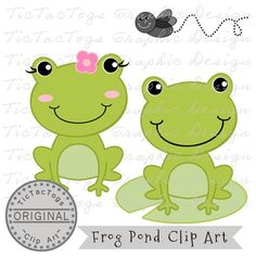 Frog Clip Art, Frog Digital Clipart, Flower Fly lily Pad Girl Boy CU only 99¢