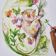 Tarsius a.k.a Tarsier #watercolour #watercolor #painting #illustration by #jongkie -