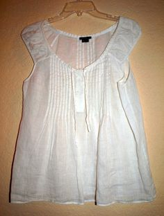 Theory White Linen Top Blouse Womens Medium