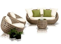 Add a hint of green to your outdoor patio collection with this beautiful Noir piece. Featuring a unique egg-shaped design, the Akoi Patio Sofa Set is the perfect unique addition to your outdoor space. Made with off-white weatherproof cushions and a rattan frame. This set includes one sofa, two chairs, green pillows, and one end table. #Aico Furniture, #ART Furniture, #Arteriors, #Bramble, #Catnapper, #CFC Furniture, #Classic Home Furniture,#Coast to Coast Furniture, #Cyan Designs, #ESF…