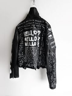Numb hand painted black jacket - All About Painted Jeans, Painted Clothes, Hand Painted, Custom Clothes, Diy Clothes, Vegan Leather Jacket, Men's Leather, Diy Leather Jacket, Leather Jacket Patches