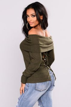 ddd555306d Helsey Off Shoulder Sweater - Olive