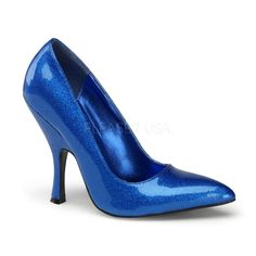 """Hot For Heels And More - Pin Up Couture By Pleaser Blue Pearlized Glitter Patent - Curved heel, classic court shoe. Heel: 4 Platform: N/A"""" Sexy High Heels, Frauen In High Heels, Womens High Heels, Shoes Heels Pumps, High Heel Pumps, Stiletto Heels, Rockabilly Shoes, Blue Stilettos, Blue Pumps"""