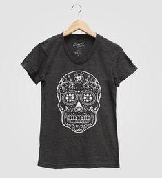 905df7b7 Sugar Skull Shirt, Women's T-shirt, Halloween Tshirt, Screen Print T-shirt, Graphic  Tee, Halloween C